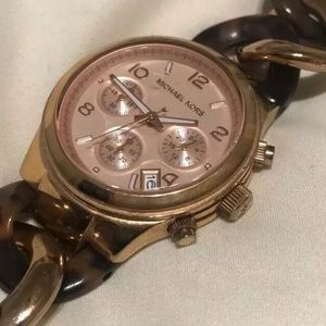 Michael Kors Rose and Brown Gold Chain Link Watch